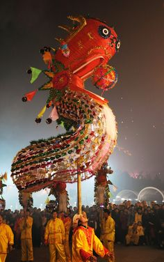 (CHINA OUT) People perform a Dragon Dance to celebrate the Lantern Festival on February 9, 2009 in Wuhan of Hubei Province, The Lantern Festival is a Chinese festival celebrated on the fifteenth day of the first month in the lunar new year in the Chinese calendar, an Ox year this year, marking the official end to new year celebrations.