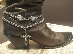 Boot Bracelet Double Chain|Cross Boot Bracelet|Boot Bling|Boot Chain|Western Accessories|Boot Accessories|Cowboy boot