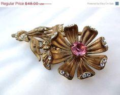 1940 Vintage Jewelry | ... Rhinestone Large Flower Brooch 1940s Vintage Jewelry on Etsy, £27.25