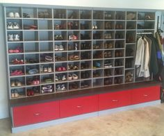 Garage shoe storage with bench and drawers