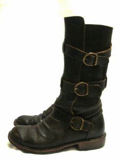 $585 AUTH MUST HAVE FIORENTINI & BAKER 7040 ETERNITY BUCKLED DARK BROWN BOOTS 38