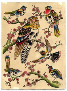 Birds tattoo flash skull