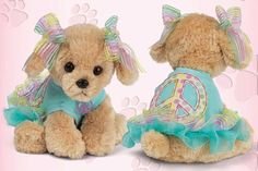 Girls Peach Love N' Puppy Dog by Bearington Collection via Alyssa's Garden: A Clothing Boutique for Baby