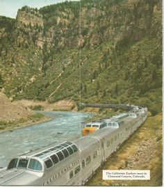 The California Zephyrs meeting Glenwood Canyon, Colorado, 1950s