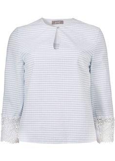 Stribet bluse med blonder 22642 Top with 3/4 sleeve