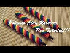 EASY Polymer Clay Rainbow Pen Tutorial! (with bonus pen stand)!!!