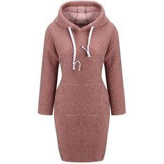 Casual Hooded Drawstring Kangaroo Pocket Plain Bodycon Dress ($27) ❤ liked on Polyvore featuring dresses, body conscious dress, hooded dress, 3/4 sleeve dress, red three quarter sleeve dress and red dress