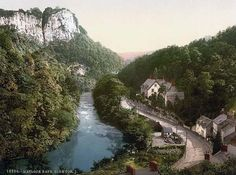 photograph of Matlock High Tor. This color photochrome print was created between 1890 and 1900 in Derbyshire, England
