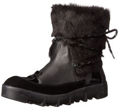 Joe's Jeans Women's Donovan Snow Boot, Black, 7.5 M US. Leather boot with suede and patent overlays featuring faux fur shaft and wraparound laces.