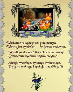 życzenia wielkanocne i mokrego dyngusa Diy And Crafts, Merry Christmas, Humor, Retro, Frame, Funny, Cards, Blue Roses, Christ