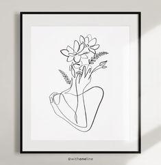 Botanical Illustration Line Drawing Flowerhead Femme portrait line art. Single Line Drawing, Single Line Tattoo, Face Line Drawing, Line Art Flowers, Flower Art, Line Art Tattoos, Abstract Line Art, Floral Wall Art, Botanical Illustration
