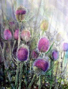 Watercolor by Rukiye Garip 56 cm Arches 300 gr Rough… Art Watercolor, Watercolor Flowers, Botanical Art, Painting Inspiration, Painting & Drawing, Flower Art, Art Prints, Artwork, Thistles
