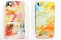 25 Inventive DIY Phone Cases via Brit + Co: Impressionist Case: For folks who love a bit of romantic impressionism, these cases have a watercolor style we love. Create your own prints or use paper or fabric you like. (via B Soup)