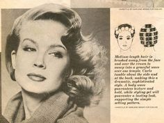 Retro hairstyle with roller setting pattern.
