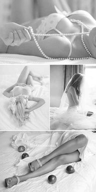 Super cute boudoir wedding photo shoot for the hubby to open on the wedding day.  Why not?