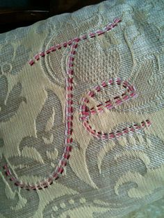 "Je T'aime Hand Embroidered 18"" Square Pillow Cover and insert made from recycled textiles. $95.00, via Etsy."
