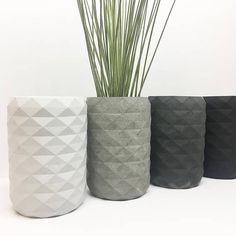 This geometric vase is a modern concrete home decor item perfect for holding succulents, air plants and candles. || Dimensions: 3.4 in x 5.1 , hole size is 2.1″Diameter x 4.0″ Deep || Materials: Cement, pigment, water || Handmade in Milwaukee, WI Please note the following: * The