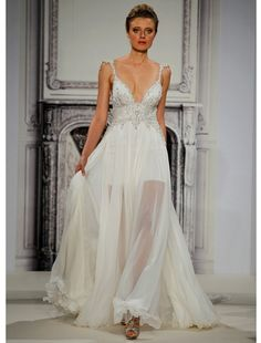 Pnina Tornai - V-Neck Sheath Gown in Silk Chiffon