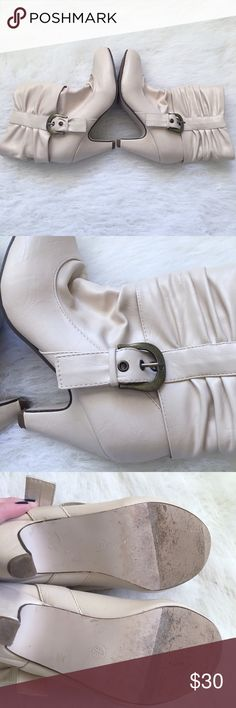 Cyber Monday Sale! Cream buckle heeled boots . Great condition. Only worn a couple times. Shoes Heeled Boots