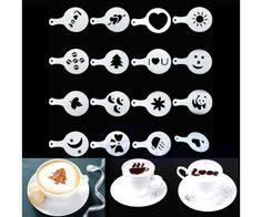 Cappucino vagy tejeskávé díszítő sablon készlet - 16 sablon különböző mintákkal - sütemény dekorálására is alkalmas