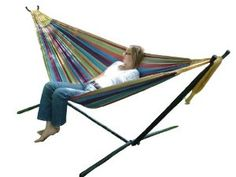 Vivere UHSDO9 Double Hammock with Space-Saving Steel Stand       http://www.amazon.com/dp/B004YJCP7O/?tag=pin2pin-20
