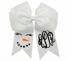 Monogram Snowman Hair Bow Clip-Girls Christmas Bow-Christmas Hairbow-Monogram Christmas Hair Bows-Snowman Hair bow-Merry Christmas Hair Bows by DesignsByANM on Etsy