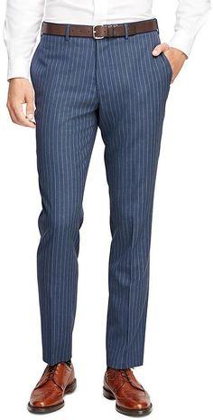 Wide Stripe Suit Trousers is part of Pants outfit men - Men Trousers, Mens Dress Pants, Trouser Suits, Pants Outfit, Men Dress, Mens Fashion Blazer, Mens Fashion Wear, Fashion Pants, Pink Blazer Men