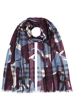 A combination of camouflage print and the brand's iconic check makes this wool and silk scarf a must-have accessory from Burberry #Stylebop