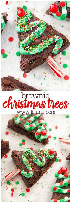 christmas treats These easy chewy Christmas Brownie Trees are easy to make and add a festive touch to your holiday table! Kids of all ages will enjoy this tasty treat! Christmas Party Food, Xmas Food, Christmas Cooking, Christmas Goodies, Christmas Candy, Simple Christmas, Christmas Recipes, Christmas Cupcakes, Christmas Time