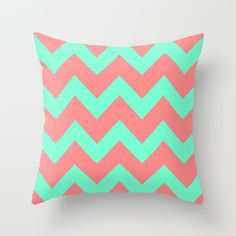 Chevron Coral Red Mint Green Throw Pillow by Beautiful Homes