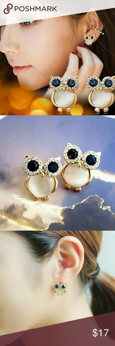 Lovely Owl Rhinestone White Cat's Stone Earrings Description ;  Material : Alloy , Cat's stone  Gender : Women  Type : stud earring  Color : As picture  Craftsmanship : Plating  Pattern : Owl  Package included : 1 Pair stud earring  Note : Due to the difference between different monitors , the picture many not reflect the actual color of the item . Jewelry Earrings