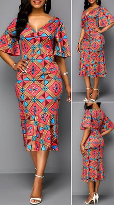Tribal Print Butterfly Sleeve V Neck Dress HOT SALES beautiful dresses, pretty dresses, holida Best African Dresses, African Fashion Designers, Latest African Fashion Dresses, African Print Fashion, African Attire, Africa Fashion, Moda Afro, Traditional African Clothing, Outfits Dress