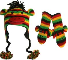 Agan Traders Wool Fleece Animal Hat Mitten Set- RASTA One Size « Clothing Adds for your desire