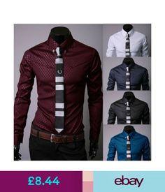Casual Shirts & Tops Fashion Men's Luxury Casual Shirts Slim Fit Dress Shirts Long Sleeve Button Uk #ebay #Fashion