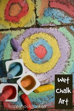 A dipping cup takes sidewalk chalk art to a slick and vibrant new level! Kids of all ages will love this wet sidewalk chalk activity! Summer Art, Summer Crafts, Diy And Crafts, Crafts For Kids, Summer Ideas, Fun Activities For Kids, Preschool Activities, Outdoor Activities, Projects For Kids