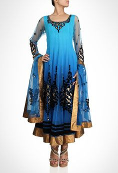Blue anarkali is enriched by hints of gold and black velvet appliqué work.  Shop Now: www.kimaya.in