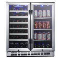 View the EdgeStar CWB2886FD 30 Inch Wide 28 Bottle 86 Can Capacity Freestanding Dual Zone Wine Cooler and Beverage Center at winecoolerdirect.com.
