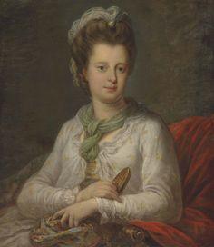 Portrait de Elizabeth Kerr, née Fortescue, marquise de Lothian, faisant des noeuds, par Angelica Kauffman