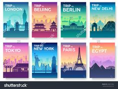 Travel Of The World Brochure With Typography Set. England Country Icon. England Country. India Country. Germany Country. China Country. Japan Country. Usa Country. France Country. City Landscape Stock Vector Illustration 400815964 : Shutterstock