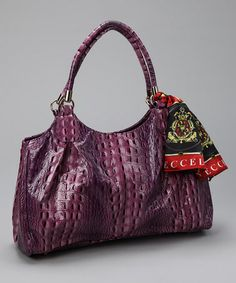 This Purple Alligator Pleated Satchel by Vecceli Italy is perfect! #zulilyfinds
