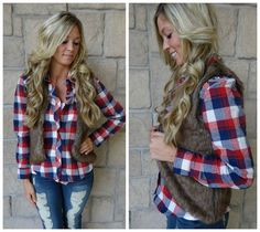Fur vest and plaid flannel! The PERFECT fall oufit! Sold out in seconds and restocking soon! Will be available at our Peoria, IL location soon!