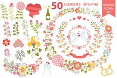 Romantic floral set . Vintage wreath by Tatiana Kost design on Creative Market