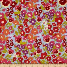 Secret Garden Hedgerow Denim Blue from @fabricdotcom  Designed by Nel Whatmore for Free Spirit Fabrics, this cotton print is perfect for quilting and craft projects as well as apparel and home décor accents. Colors include orange, carnation pink, red and blue.