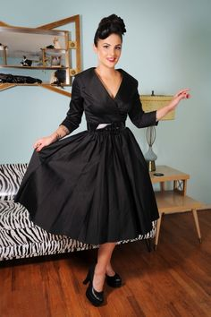 Pinup Couture Birdie Black Swing Dress 102 10 15385 3