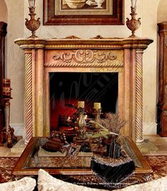 Pink & Gold Lavish Marble Fireplace Surround Victorian Fireplace Mantels, Mantles, Fireplace Mantle, Marble Fireplace Surround, Marble Fireplaces, Fireplace Surrounds, Light My Fire, Hearth, Pink And Gold