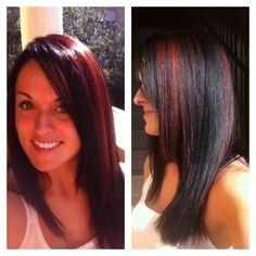 Bright, shiny, vibrant, long dark hair with red highlights throughout. Hair by Nique, Indie Studio Salons, Ft. Myers, FL