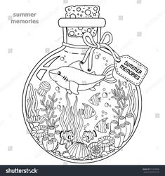 Vector Coloring book for adults. A glass vessel with memories of summer. A bottle with sea creatures - a shark, tropical fish, nemo fish, jellyfish, corals and seashells.