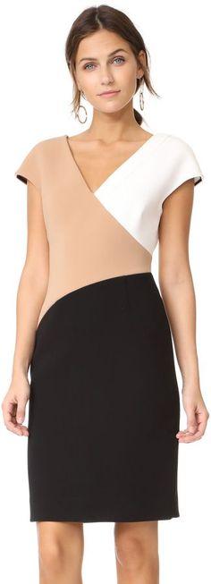 Diane von Furstenberg V Neck Banded Dress. A slim DVF sheath dress makes a modern impression in neutral colorblocking. V neck and back. Front slit. Sleeveless. affiliate