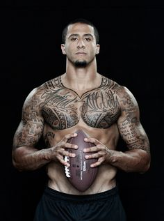 Colin Kaepernick # 7 ~ Born November 3, 1987. He is an American Football Quarterback for the San Francisco 49ers of the National Football League. He played college football for the University of Nevada Wolf Pack. As the full-time starter, he led the 49ers to the NFL playoffs for the second straight season and to their first Super Bowl since 1994, where they lost to the Baltimore Ravens.