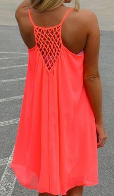 Pink Mesh Back Spaghetti Strap Loose Midi Dress